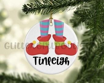 Christmas Ornament, Elf Ornament, Little Girl Ornament, Ornament for Kids, Porcelain Ornament, Custom Ornament | Personalized Ornament