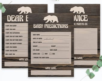 Rustic Baby Shower Games Instant Download Woodland Baby Shower Games Printable Baby Bear Baby Predictions Dear Baby Wishes Advice Cards BBD