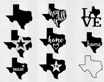 Texas SVG Bundle, Texas clipart, Texas cut files, svg files for silhouette, files for cricut, svg, dxf, eps, cuttable design