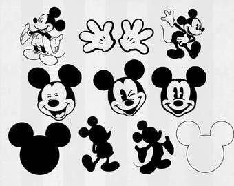 Mickey Mouse SVG Bundle, Mickey Mouse clipart, Mickey cut files, svg files for silhouette, files for cricut, svg, dxf, eps, cuttable design