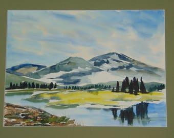 Springtime Mountain Meadow original hand-painted watercolor