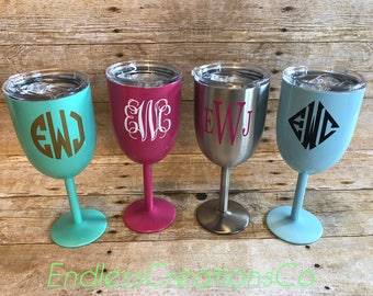 NEW COLORS-10oz Stainless Steel Wine Glass Tumbler with Lid, Powder Coated Wine Tumblers, Monogram Stainless Steel Tumbler, Wine Glass Gift