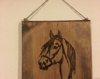 Rustic Wood Sign with Horse Silhouette