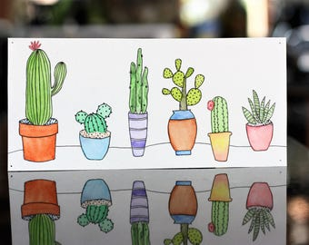 Potted Cacti and Succulents - Watercolor Painting