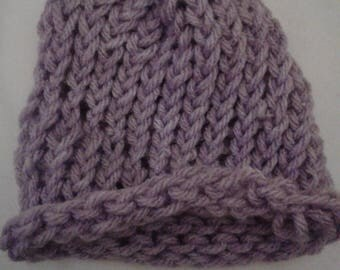 Purple New Born Baby Knit Beanie Hat