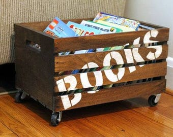 Kid's wooden toy box with casters