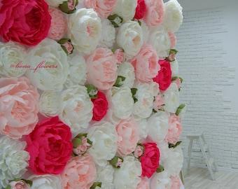 Peonies - Paper Flower Wall - Paper Flower Backdrop - Wedding Wall - Wedding Backdrop - Large Paper Flowers - Paper Wedding