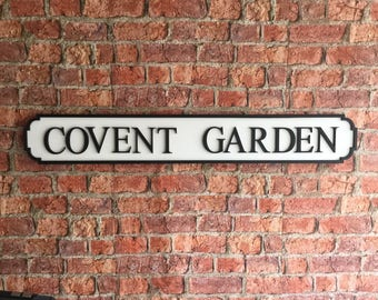 COVENT GARDEN vintage wooden street road sign
