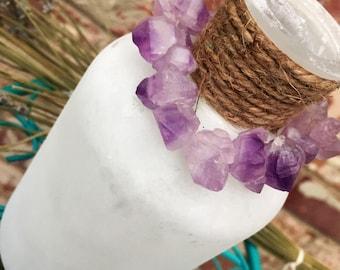 Raw Amethyst Bracelet // Bracelet // Gemstone Bracelet // Stackable