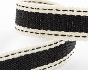 Ribbon - 15mm x 10m Cotton Twill Ribbon - Black
