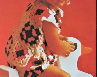 Instant Download PDF Crochet Pattern Granny Square Playsuit 1970's