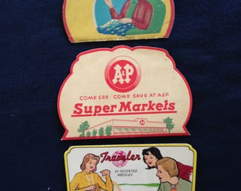 Vintage Sewing Needle Packets / Holders Lot of 3