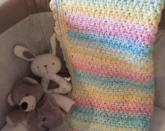 Rainbow baby blanket, pastel crochet blanket, colour change pram blanket