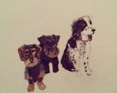 A5 custom dog portrait of three dogs