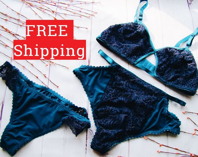 Bralette Bikini, Erotic Underwear, Handmade Underwear, Lace Bra Bodysuit, Lace Underwear, Lingerie Set, Sexy Underwear, High Waist, Lingerie