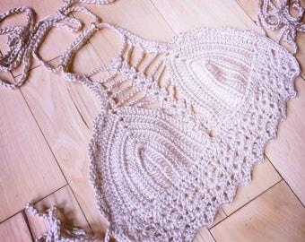 Crochet Top Festival Crop  Bralette Halter Handmade