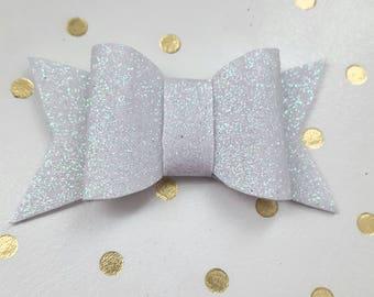 Small White Glitter Bow Planner Charm