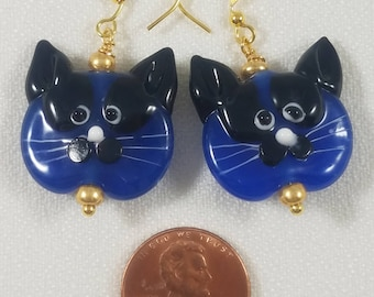 Lamp Worked Cat Face Earrings (Opaque Dark Blue, Red, Light Blue, Purple, Pink; Translucent Gold, Red, Pink, Clear)