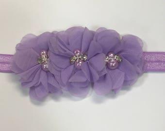 Triple Flower Headband - Purple Cake Smash - Newborn Photo Headband - Flower Crown - Purple Bows - Purple Headband