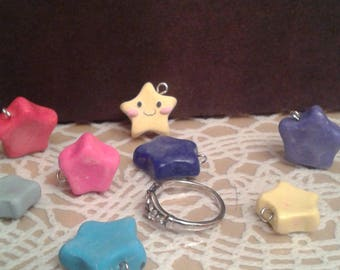 Mini Hand Crafted Polymer Clay Star Charms