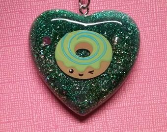 Kawaii Holographic Green Swirl Donut Resin Keychain Charm