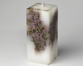 Botanical Candle - White Candle - Scented Candle - White Pillar - Flower Candle - English Garden - Fine Candle - La Reine NYC