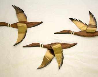 Mid Century Set Of 3 Teak Wood And Brass Flying Geese Wall Mount
