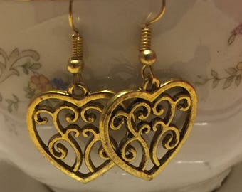 Gold Heart Filigree Dangle Earrings