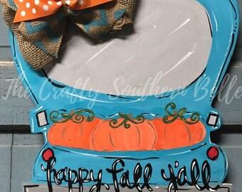 Pumpkin Truck Door Hanger, Fall Door Hanger, Happy Fall Door Hanger