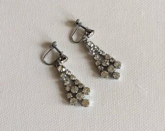 Vintage wedding earrings. Bride. Bridesmaid.  Beautiful original 1950's earrings. Sensational wedding jewellery.