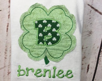 St Patricks frayed shamrock applique short/long sleeve/raglan shirt with name Toddler and Youth size FREE SHIPPING