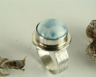 Larimar Ring, Sterling Silver 925,Oxidised,Handmade,Coctail Ring,Statement Rings