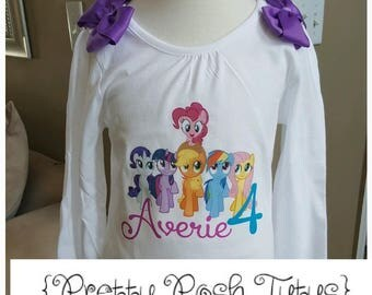 My little Pony Birthday Shirt!!! Any age and name! sixe 2t 3t 4t 5t 6/6x 7/8 10/12 Twilight Sparkle, Pinkie Pie,  Long or short sleeve