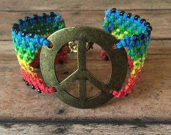 Rainbow Cuff - Rainbow Bracelet - Peace Sign Bracelet - Peace sign Jewelry - Hippie Cuff Bracelet - Boho Cuff Bracelet - Rainbow Jewelry