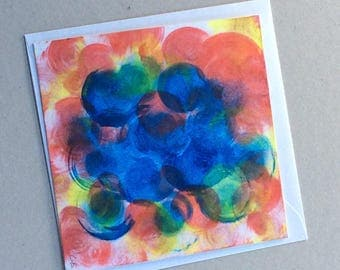 Bubbling - Hand Painted Original - Art on a Card -Greeting card