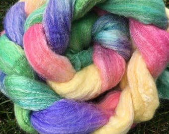 Spinning fiber, hand-dyed combed top for spinning or felting