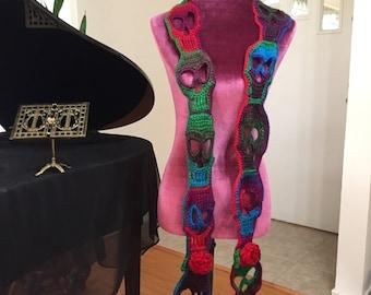 Handmade crochet Day of the Dead / Dia de los Muertos / skull scarf