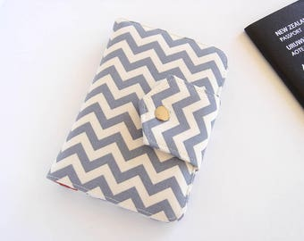 Passport Wallet, Passport Holder, Travel Wallet, Travel Organizer in Gray Chevron, for 2 or 4 Passports - MADE TO ORDER