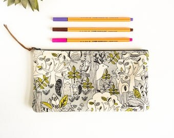 Pencil Case, Woodland Animals Zipper Pouch, Flat Zipper Bag, Makeup Brush Holder, Eye Glass Case, Forest Animals, Small Cosmetic Pouch