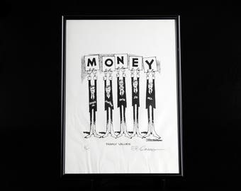 Paul Conrad Hand Signed 1992 Limited Edition Money Family Values Political Cartoon Lithograph