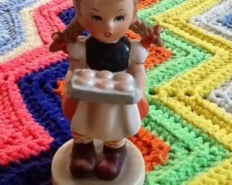 Vintage Figurine Girl Holding Tray of Cookies Japan
