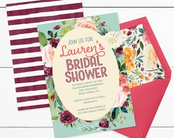Watercolor Floral Bridal Shower Invitation Watercolor Flowers Pink Purple - CUSTOMIZED PRINTABLE INVITATION