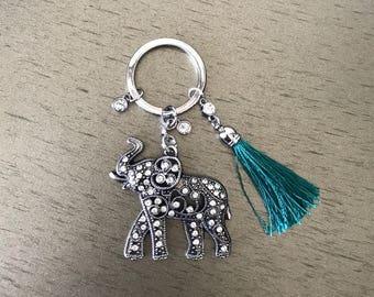 Jeweled elephant and tassel keychain