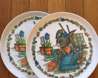 Set of Vintage Peter Rabbit Bunny Melamine Melmac Plates by SiLite