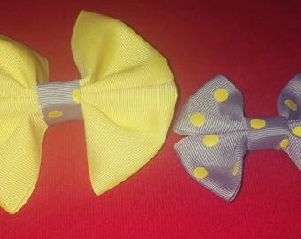 Pretty yellow, gray and polka dot bows