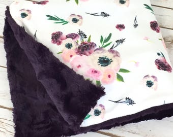 Purple Baby Blanket - Minky Baby Blanket - Stroller Blanket - Floral Baby Blanket - Baby Blanket -  Girl Blanket - Baby Shower Gift