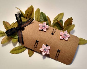 Pink ribbon flower hair pin, wedding hairpin, flower hairpin, pearl hair pin, spring and summer hair accessories