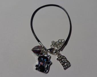 """B"" initial black waxed cord bracelet"
