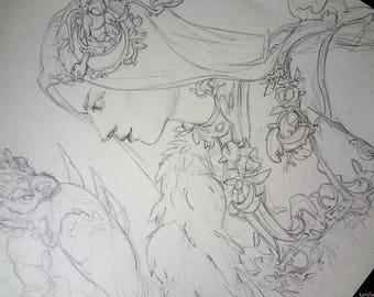 Original Dragon Sketch Illustration