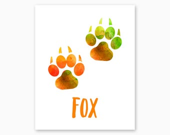 FOX WALL Art, Fox Printable, Fox Tracks, Rustic Home Decor Ideas, Instant Download, New Home Gift, Housewarming Gift, Cabin Decor